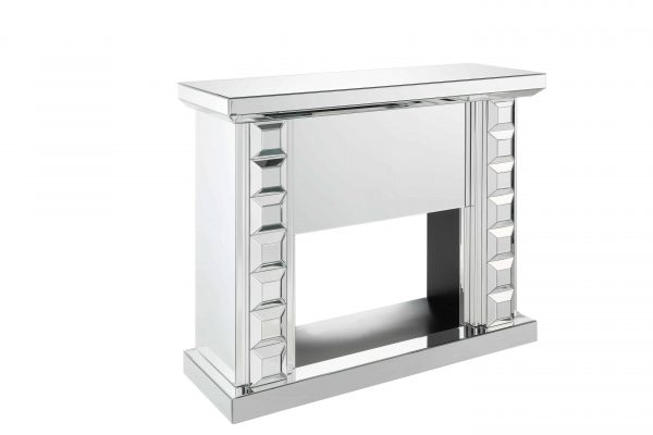 ACME Dominic Free Standing Mirrored Fireplace with Remote Control 3
