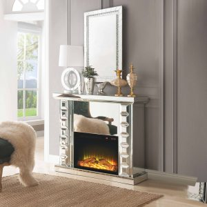 ACME Dominic Free Standing Mirrored Fireplace with Remote Control