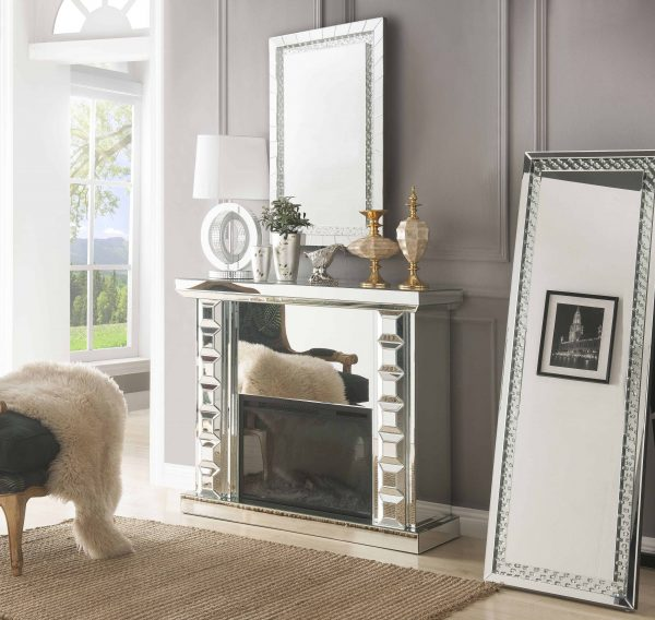 ACME Dominic Free Standing Mirrored Fireplace with Remote Control 5