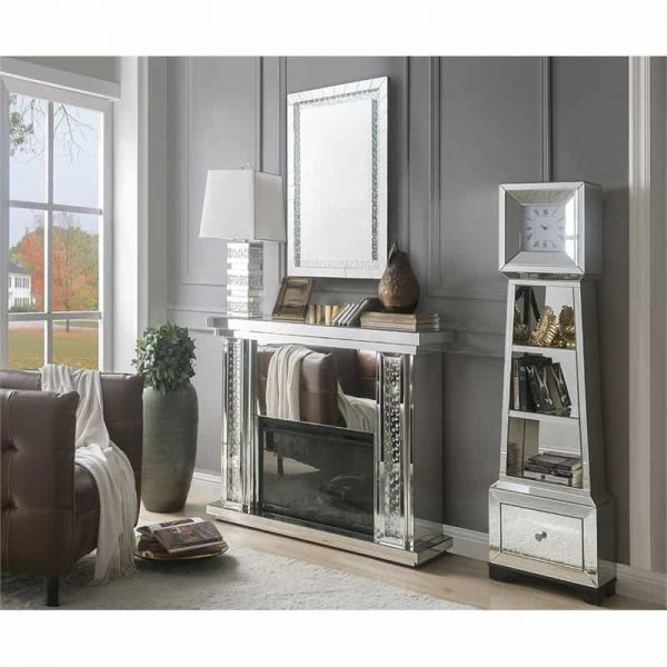 ACME Nyasia Mirrored Fireplace with Faux Crystals and Remote Control 2