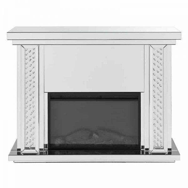 ACME Nyasia Mirrored Fireplace with Faux Crystals and Remote Control 3