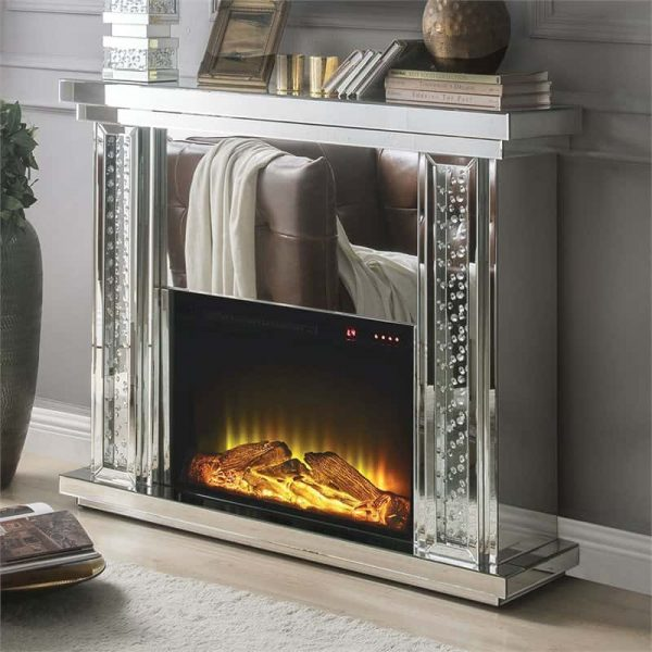 ACME Nyasia Mirrored Fireplace with Faux Crystals and Remote Control