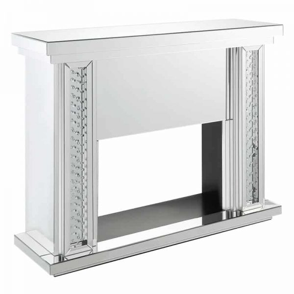 ACME Nyasia Mirrored Fireplace with Faux Crystals and Remote Control 7