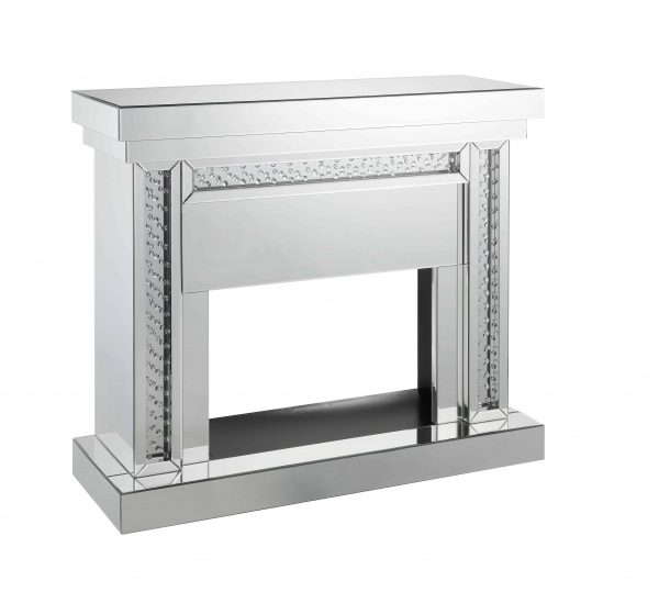 ACME Nyomi Mirrored Fireplace with Faux Crystals and Remote Control 1