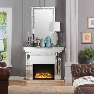 ACME Nyomi Mirrored Fireplace with Faux Crystals and Remote Control