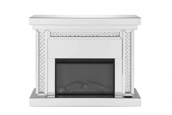 ACME Nyomi Mirrored Fireplace with Faux Crystals and Remote Control 4