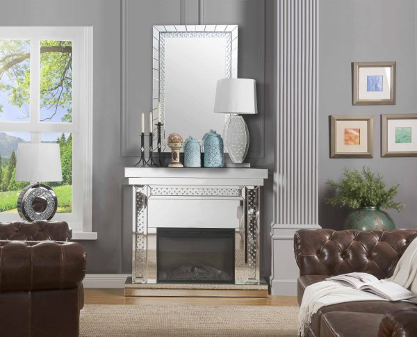 ACME Nyomi Mirrored Fireplace with Faux Crystals and Remote Control 7