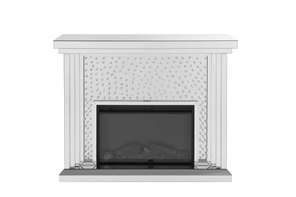 ACME Nysa Mirrored Fireplace with Faux Crystals and Remote Control 3