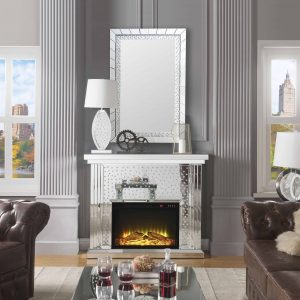 ACME Nysa Mirrored Fireplace with Faux Crystals and Remote Control