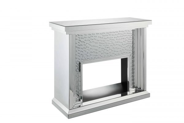 ACME Nysa Mirrored Fireplace with Faux Crystals and Remote Control 4