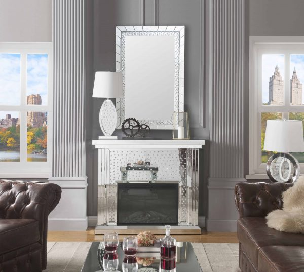 ACME Nysa Mirrored Fireplace with Faux Crystals and Remote Control 5