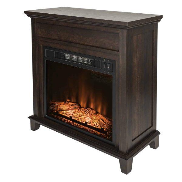 "AKDY FP0095 27"" Electric Fireplace Freestanding Brown Wooden Mantel Firebox Heater 3D Flame w/ Logs 3"