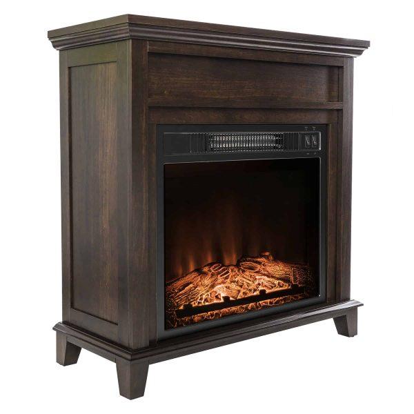 "AKDY FP0095 27"" Electric Fireplace Freestanding Brown Wooden Mantel Firebox Heater 3D Flame w/ Logs 4"