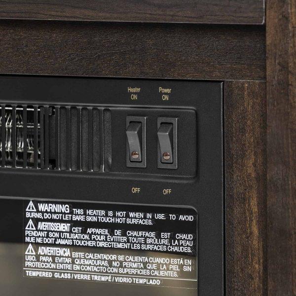 "AKDY FP0095 27"" Electric Fireplace Freestanding Brown Wooden Mantel Firebox Heater 3D Flame w/ Logs 5"