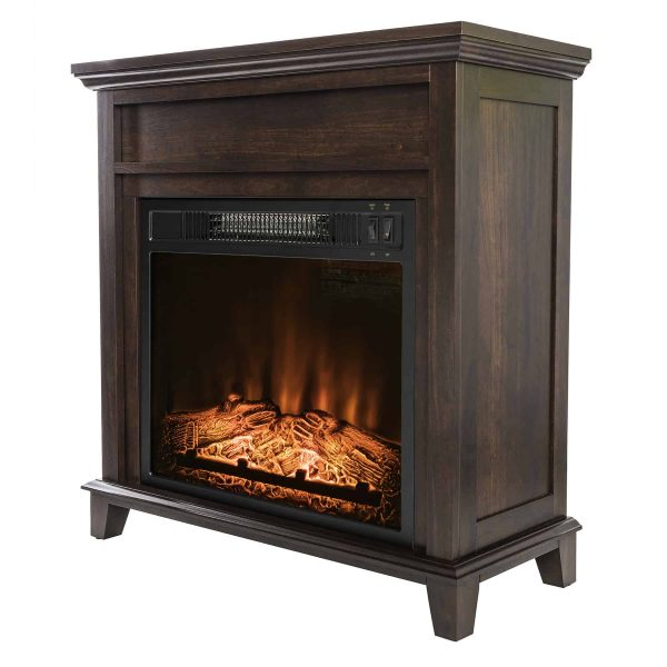"AKDY FP0095 27"" Electric Fireplace Freestanding Brown Wooden Mantel Firebox Heater 3D Flame w/ Logs"