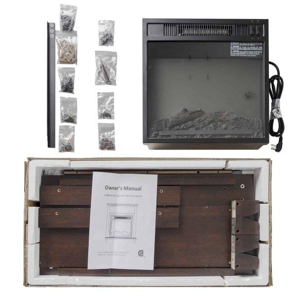 "AKDY FP0095 27"" Electric Fireplace Freestanding Brown Wooden Mantel Firebox Heater 3D Flame w/ Logs 7"