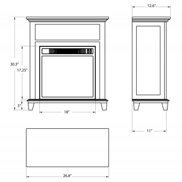 "AKDY FP0095 27"" Electric Fireplace Freestanding Brown Wooden Mantel Firebox Heater 3D Flame w/ Logs 9"