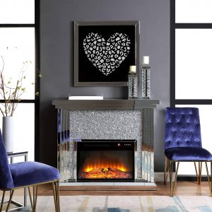 Acme Noralie Fireplace in Mirrored and Faux Diamonds