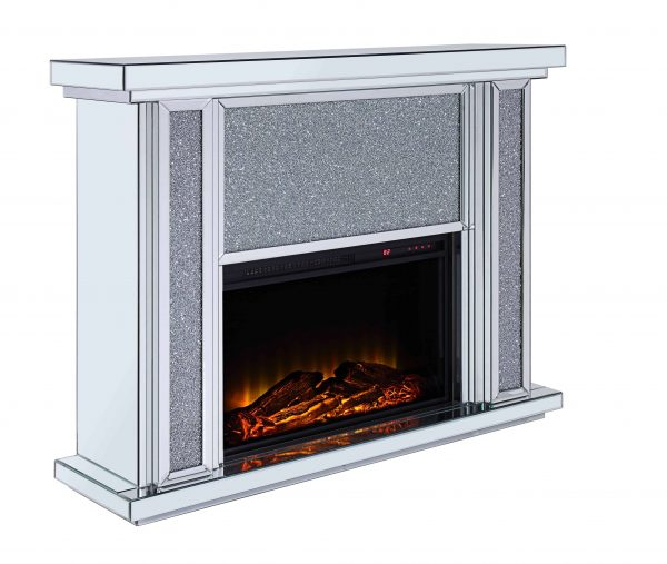 Acme Nowles Wooden Frame Fireplace in Mirrored and Faux Stones 3