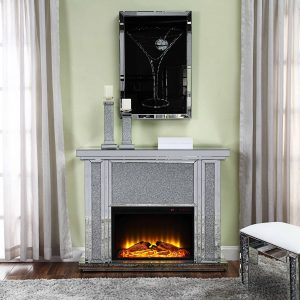 Acme Nowles Wooden Frame Fireplace in Mirrored and Faux Stones