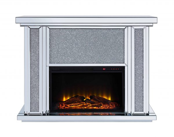 Acme Nowles Wooden Frame Fireplace in Mirrored and Faux Stones 5