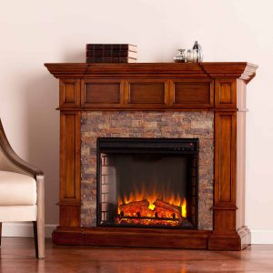 Addao Corner Electric Fireplace with Faux Stone