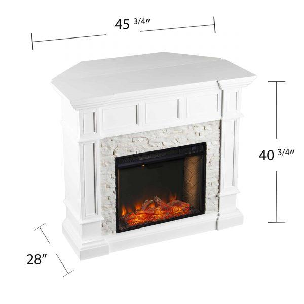 Addao Smart Convertible Fireplace w/ Faux Stone – White 1