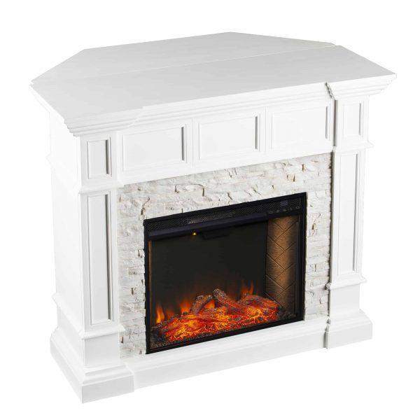 Addao Smart Convertible Fireplace w/ Faux Stone – White 2