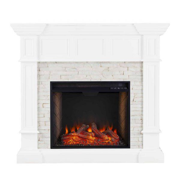 Addao Smart Convertible Fireplace w/ Faux Stone – White 3