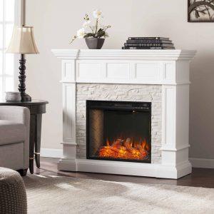 Addao Smart Convertible Fireplace w/ Faux Stone – White