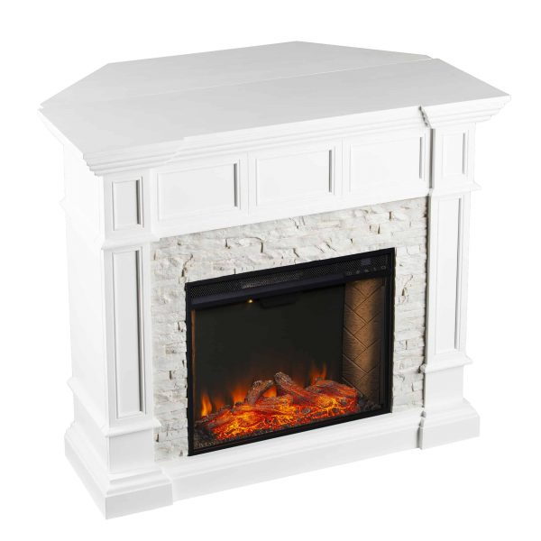 Addao Smart Convertible Fireplace w/ Faux Stone – White 4