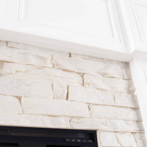 Addao Smart Convertible Fireplace w/ Faux Stone – White 6