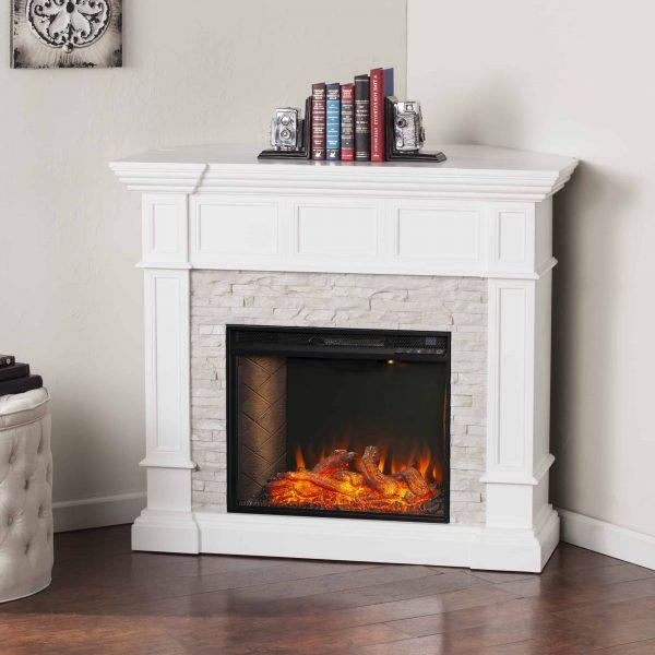 Addao Smart Convertible Fireplace w/ Faux Stone – White 7