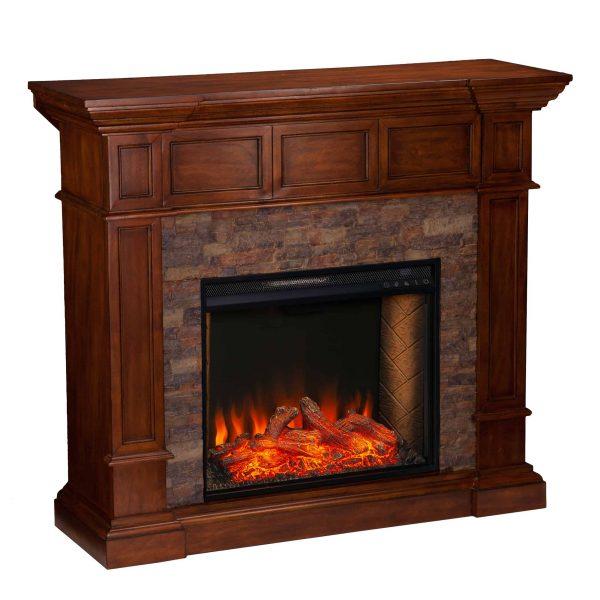 Addao Smart Convertible Fireplace w/ Faux Stone - Buckeye Oak 3