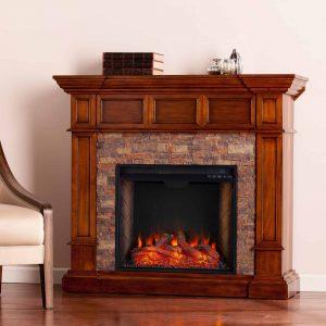 Addao Smart Convertible Fireplace w/ Faux Stone - Buckeye Oak