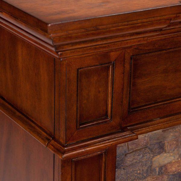 Addao Smart Convertible Fireplace w/ Faux Stone - Buckeye Oak 4