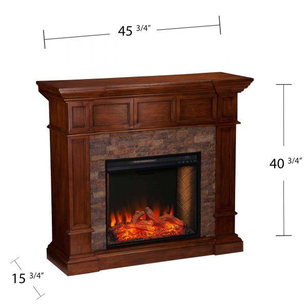 Addao Smart Convertible Fireplace w/ Faux Stone - Buckeye Oak 5