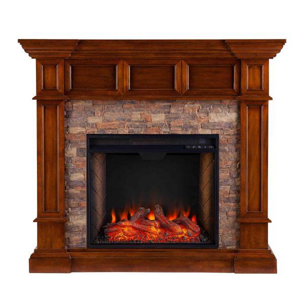 Addao Smart Convertible Fireplace w/ Faux Stone - Buckeye Oak 6