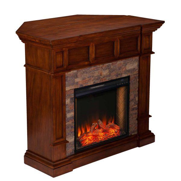 Addao Smart Convertible Fireplace w/ Faux Stone - Buckeye Oak 7