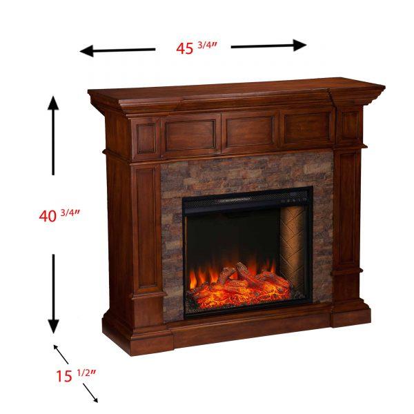 Addao Smart Convertible Fireplace w/ Faux Stone - Buckeye Oak 8
