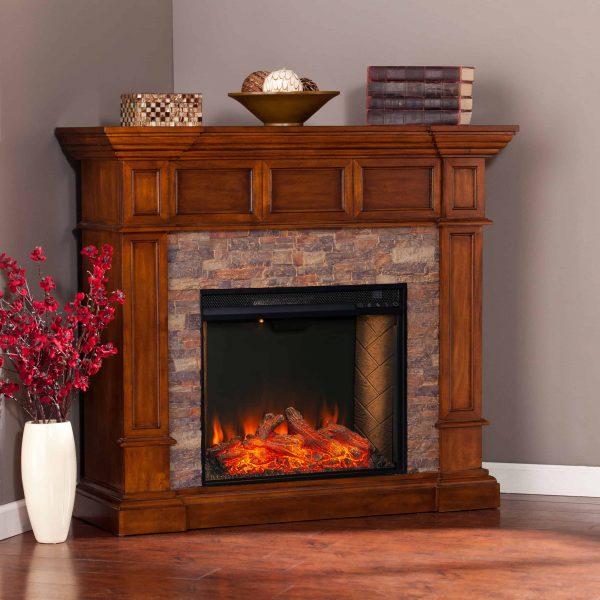Addao Smart Convertible Fireplace w/ Faux Stone - Buckeye Oak 9