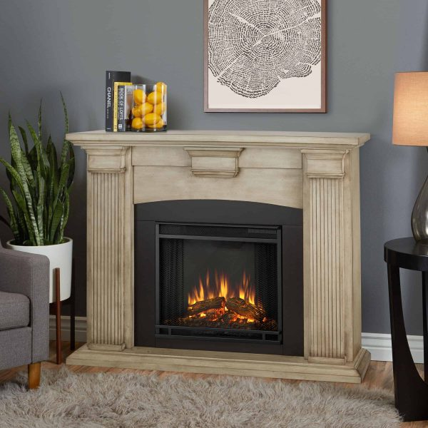 Adelaide Electric Fireplace in Dry Brush White by Real Flame