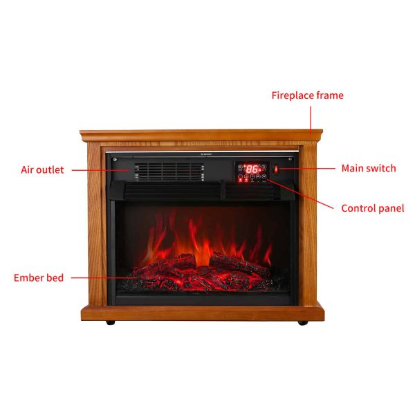 Ainfox Digital Electric 3D Flame Fireplace Stove Infrared Heater - Adjustable Thermostat with Remote, Wooden Cabinet with Medium Oak Coating 1000-1500W 9