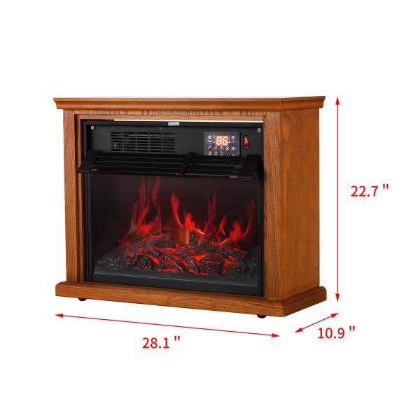 Ainfox Digital Electric 3D Flame Fireplace Stove Infrared Heater - Adjustable Thermostat with Remote, Wooden Cabinet with Medium Oak Coating 1000-1500W 1