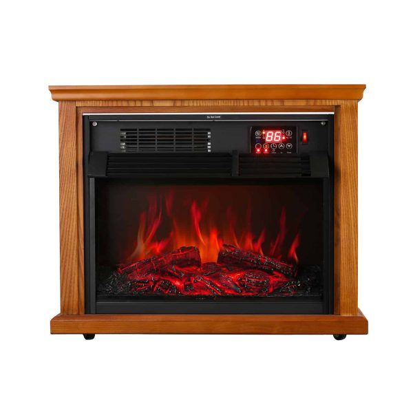 Ainfox Digital Electric 3D Flame Fireplace Stove Infrared Heater - Adjustable Thermostat with Remote, Wooden Cabinet with Medium Oak Coating 1000-1500W 2