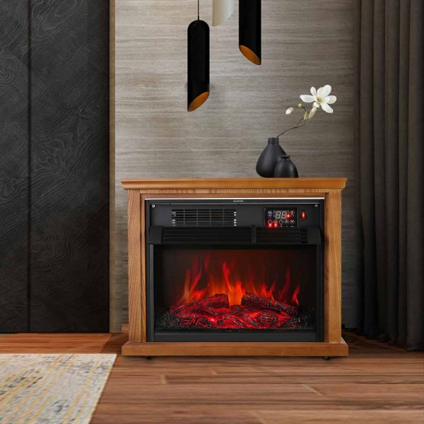 Ainfox Digital Electric 3D Flame Fireplace Stove Infrared Heater - Adjustable Thermostat with Remote, Wooden Cabinet with Medium Oak Coating 1000-1500W 3
