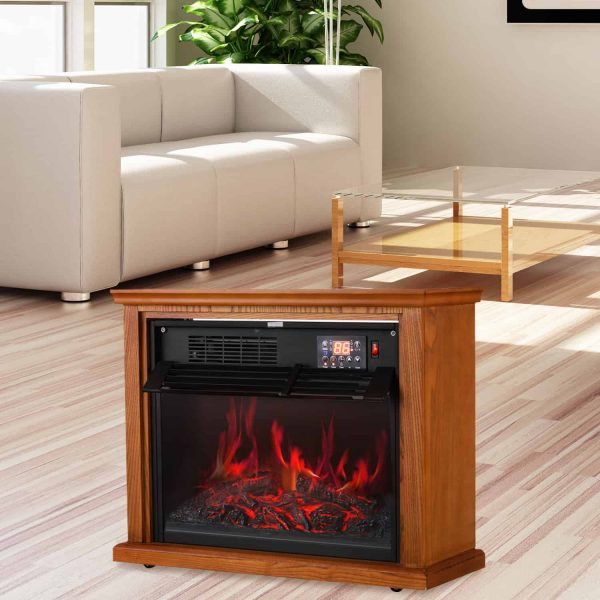 Ainfox Digital Electric 3D Flame Fireplace Stove Infrared Heater - Adjustable Thermostat with Remote, Wooden Cabinet with Medium Oak Coating 1000-1500W 4