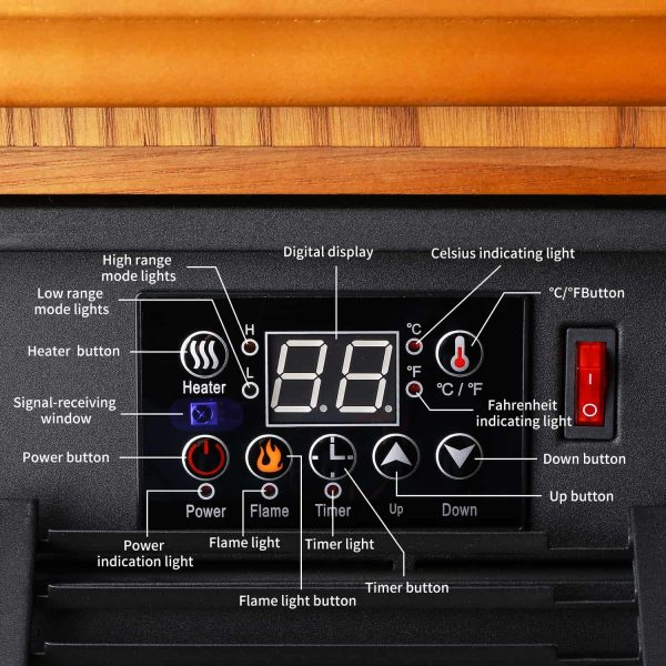 Ainfox Digital Electric 3D Flame Fireplace Stove Infrared Heater - Adjustable Thermostat with Remote, Wooden Cabinet with Medium Oak Coating 1000-1500W 5