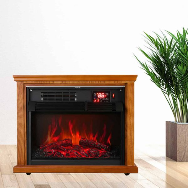 Ainfox Digital Electric 3D Flame Fireplace Stove Infrared Heater - Adjustable Thermostat with Remote