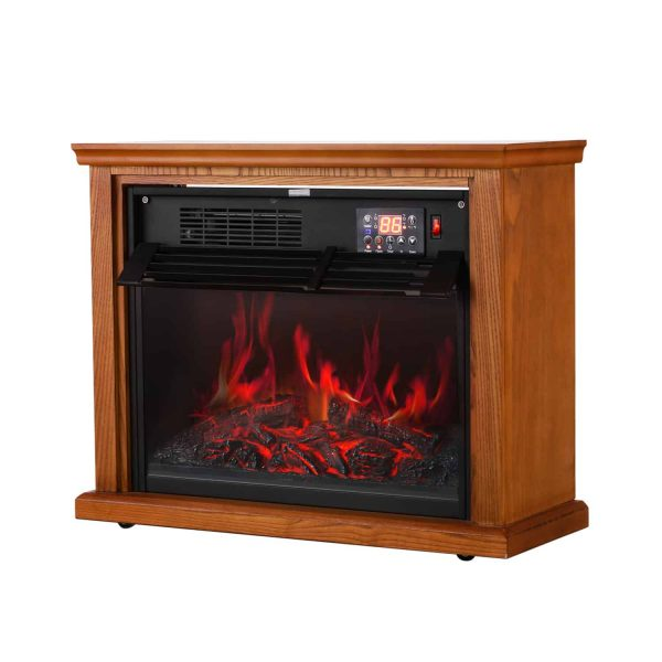 Ainfox Digital Electric 3D Flame Fireplace Stove Infrared Heater - Adjustable Thermostat with Remote, Wooden Cabinet with Medium Oak Coating 1000-1500W 6